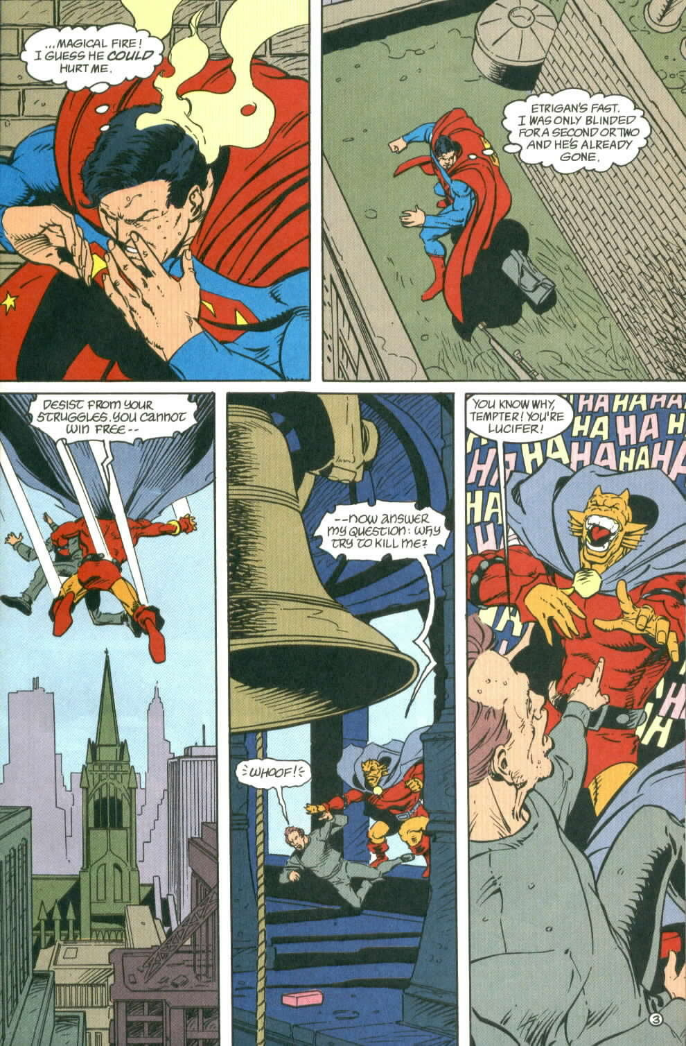 Superman thinks to himself that Etrigan is fast