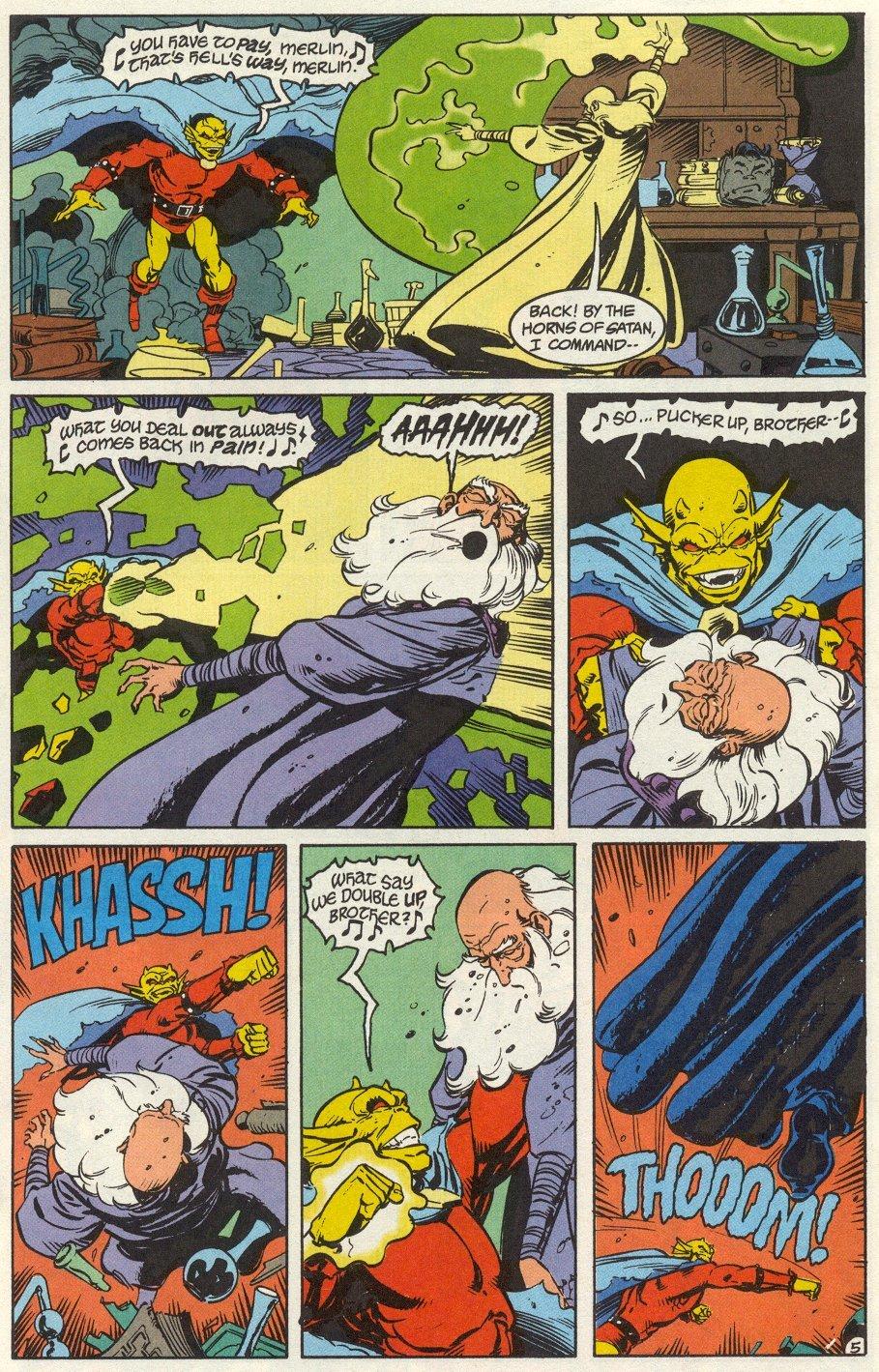 This time his magical blast breaks through Merlins magic shield