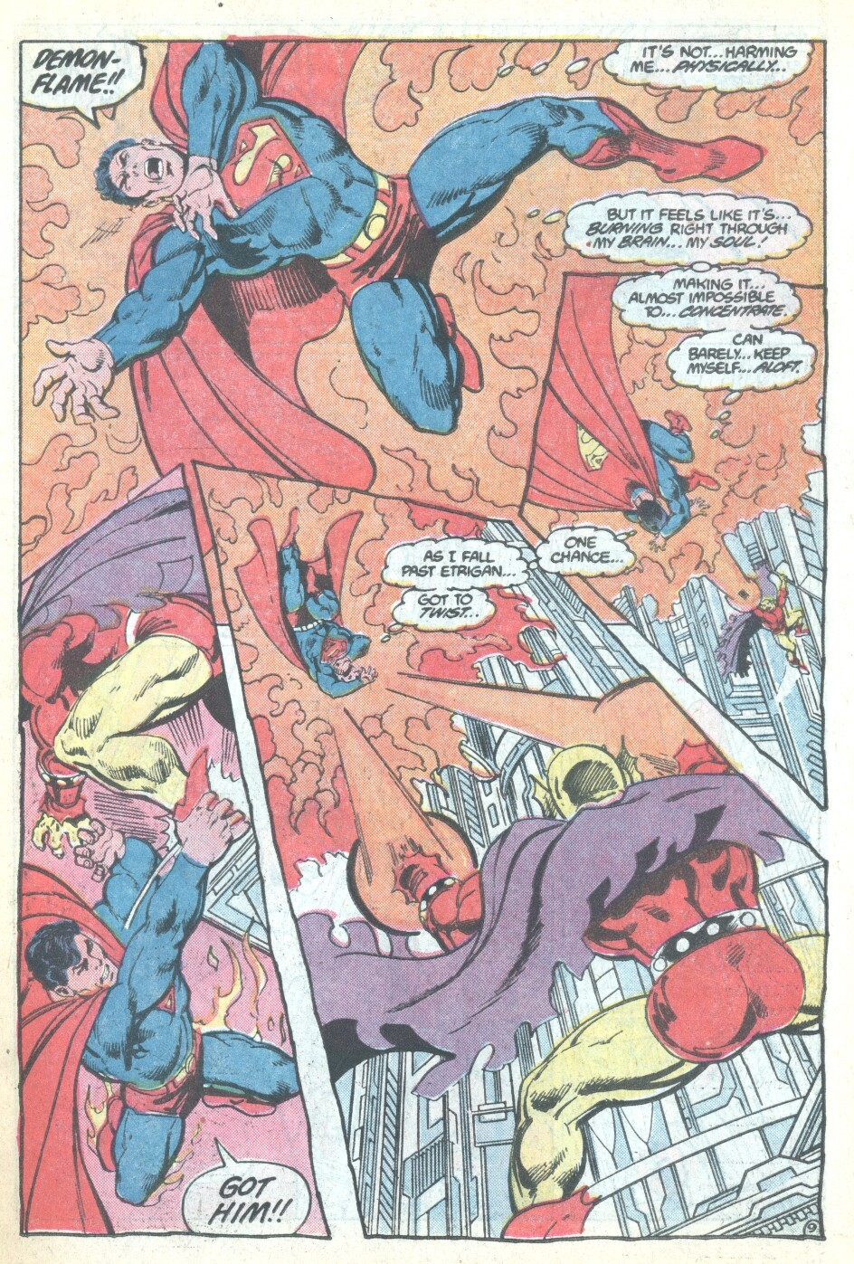 Here he uses his hell fire on Superman