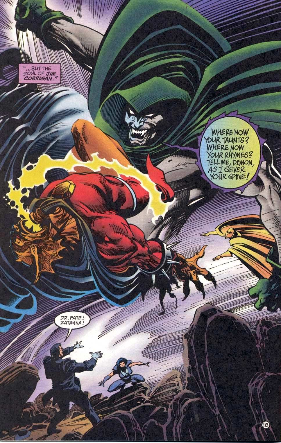 This time The Spectre merged with Eclipso and Etrigan takes a back hand from him