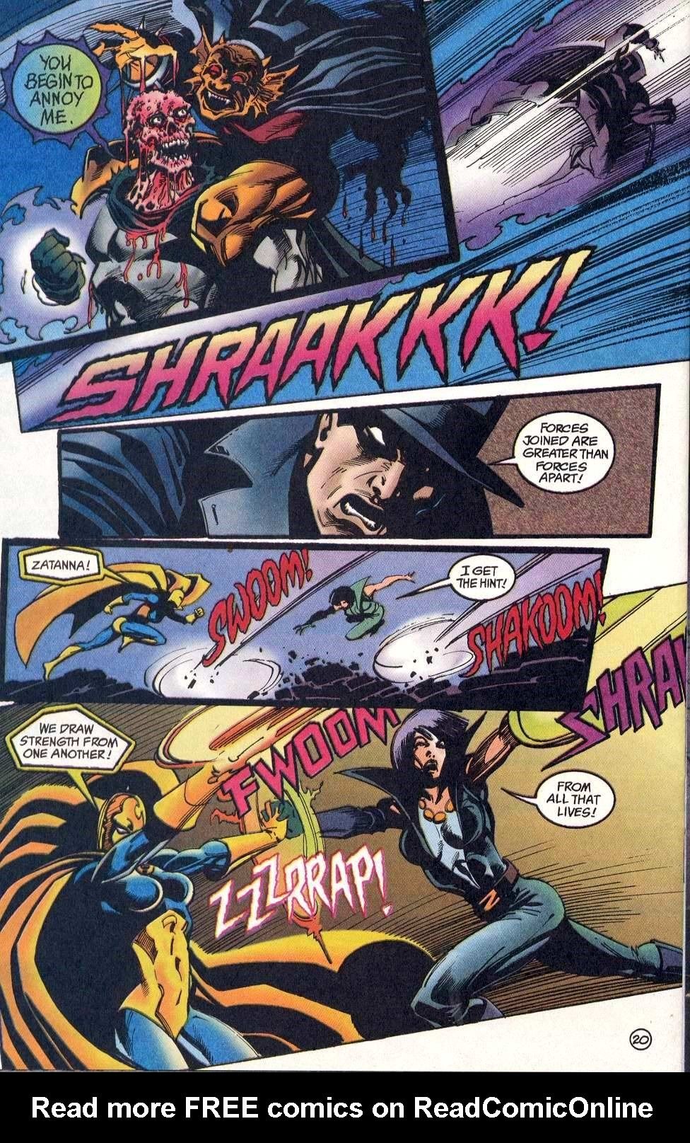 In the same fight After clawing Eclipso Spectre's face off he takes a blast that sends him into the air