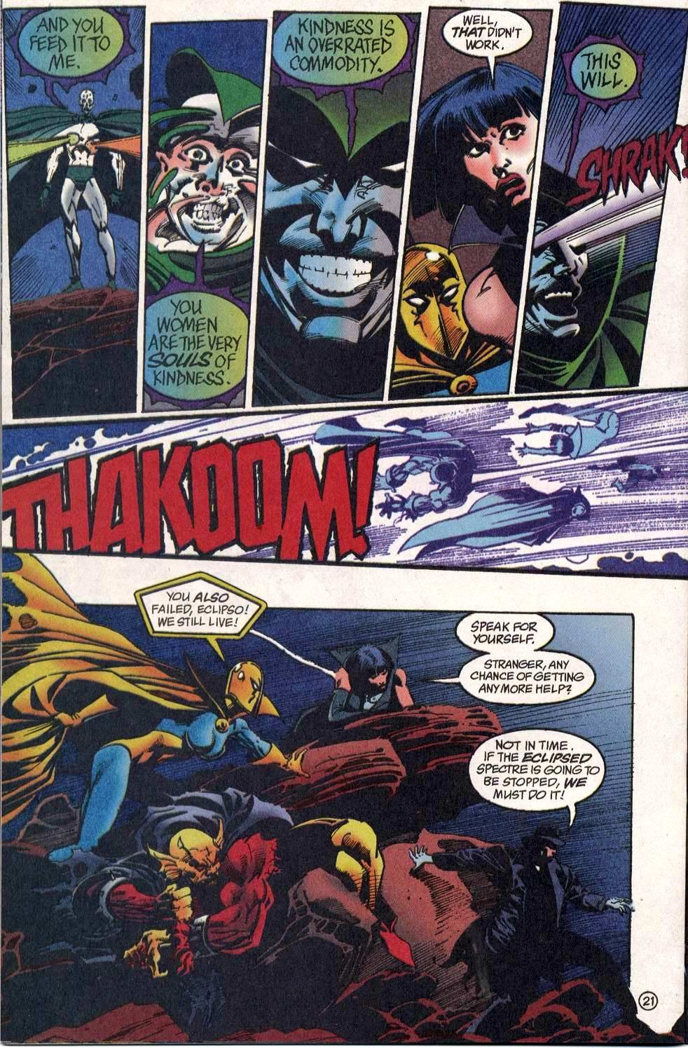 In this one, Etrigan Dr. Fate and Zatanna all take a magical blast from Eclipso Spectre.