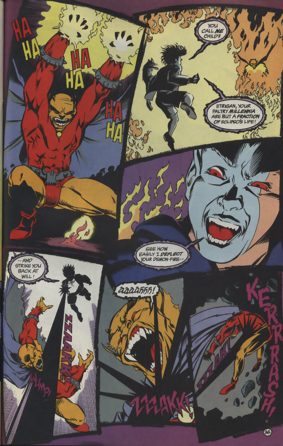 Eclipso manages to posses Klarion this time in an unrelated issue to the above scans. Here Etrigan takes quite a few blasts