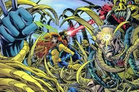 During the Phalanx Covenant, Cable joins forces with Scott, Jean & Logan.