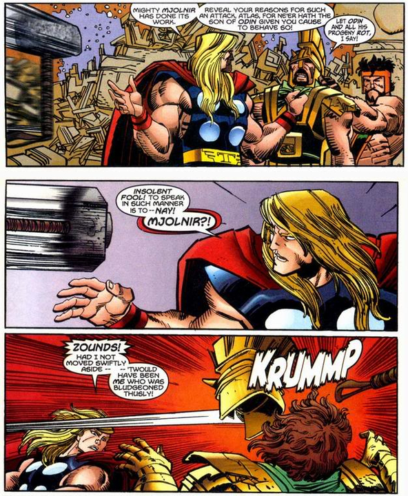 Thor dodges an out of control Mjolnir