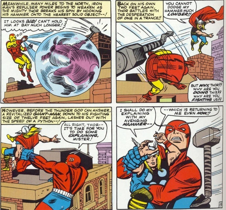Dodges a close range hammer toss from a mind-controlled Thor