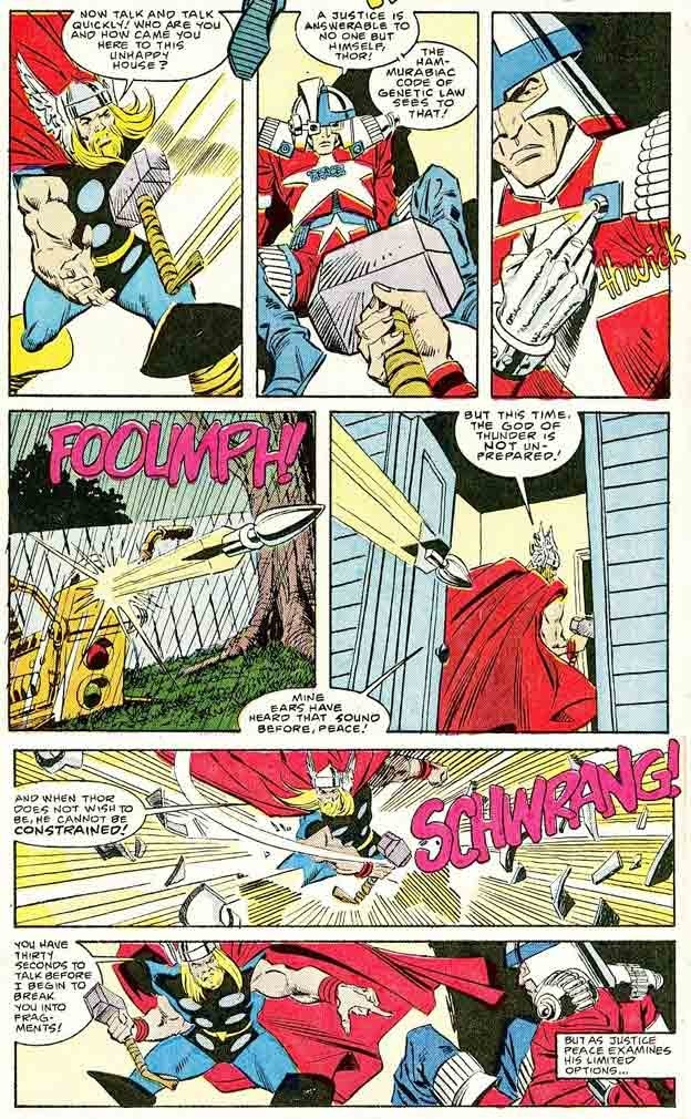 Thor easily reacts to some type of super sized dart