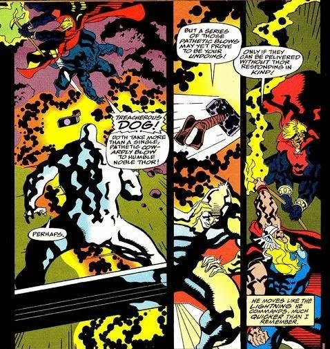 Adam Warlock said Thor moves as fast as his own lightning(which is much faster than normal lightning)