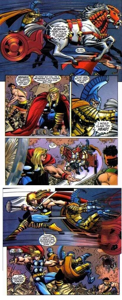 Thor blitzes a warrior off of their horse after while they attempt to trample him