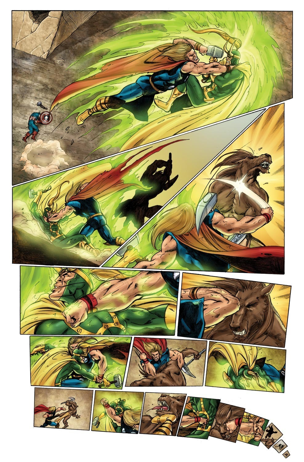 Thor is fast enough to simultaneously beat up Loki and some horse creature who tried to sneak attack him