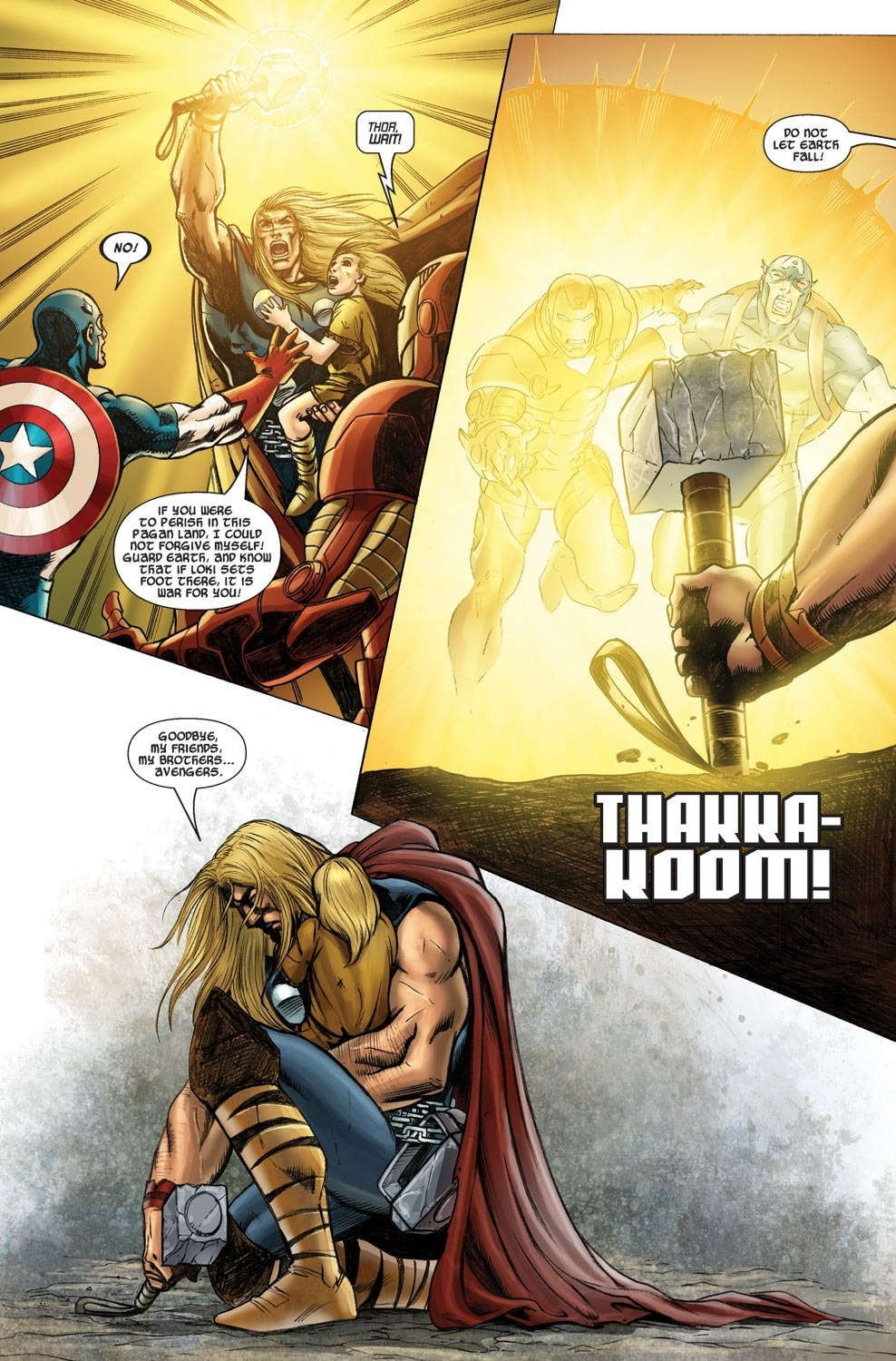Thor BFRs Captain America and Extremis Iron Man faster than they could react