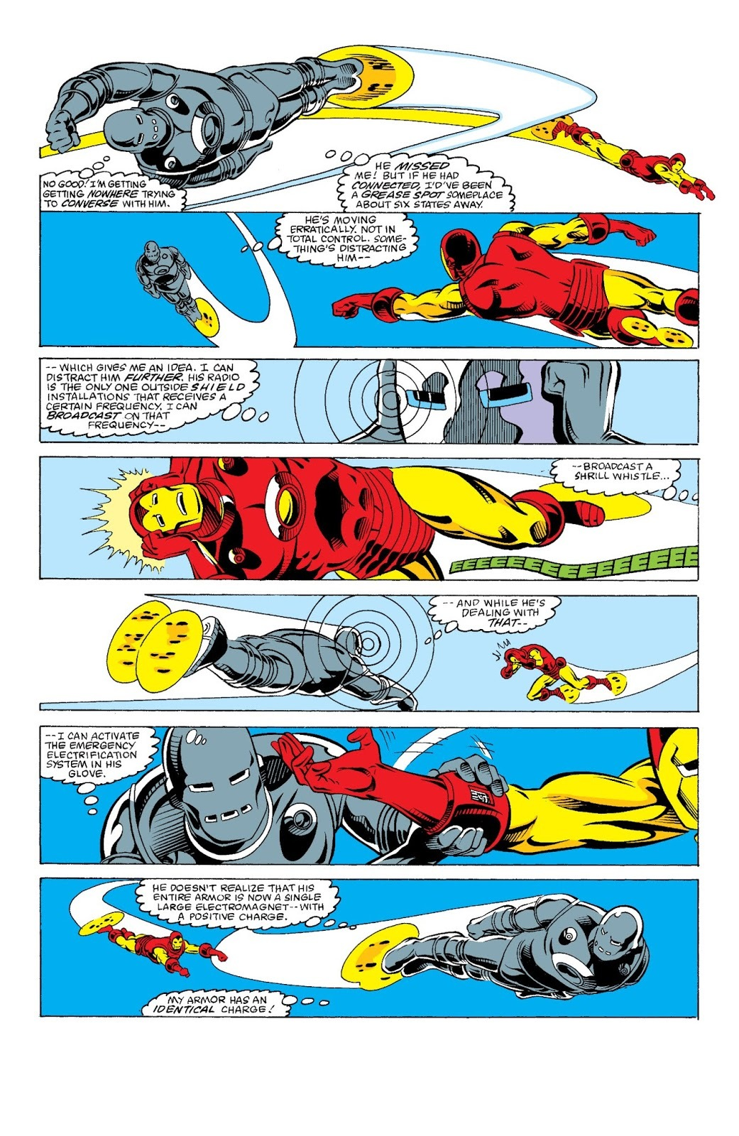 While wearing his oldest armor he calculates that a punch from classic red n gold armor would make him a grease spot somewhere 6 states away -Iron Man Epic Collection #14