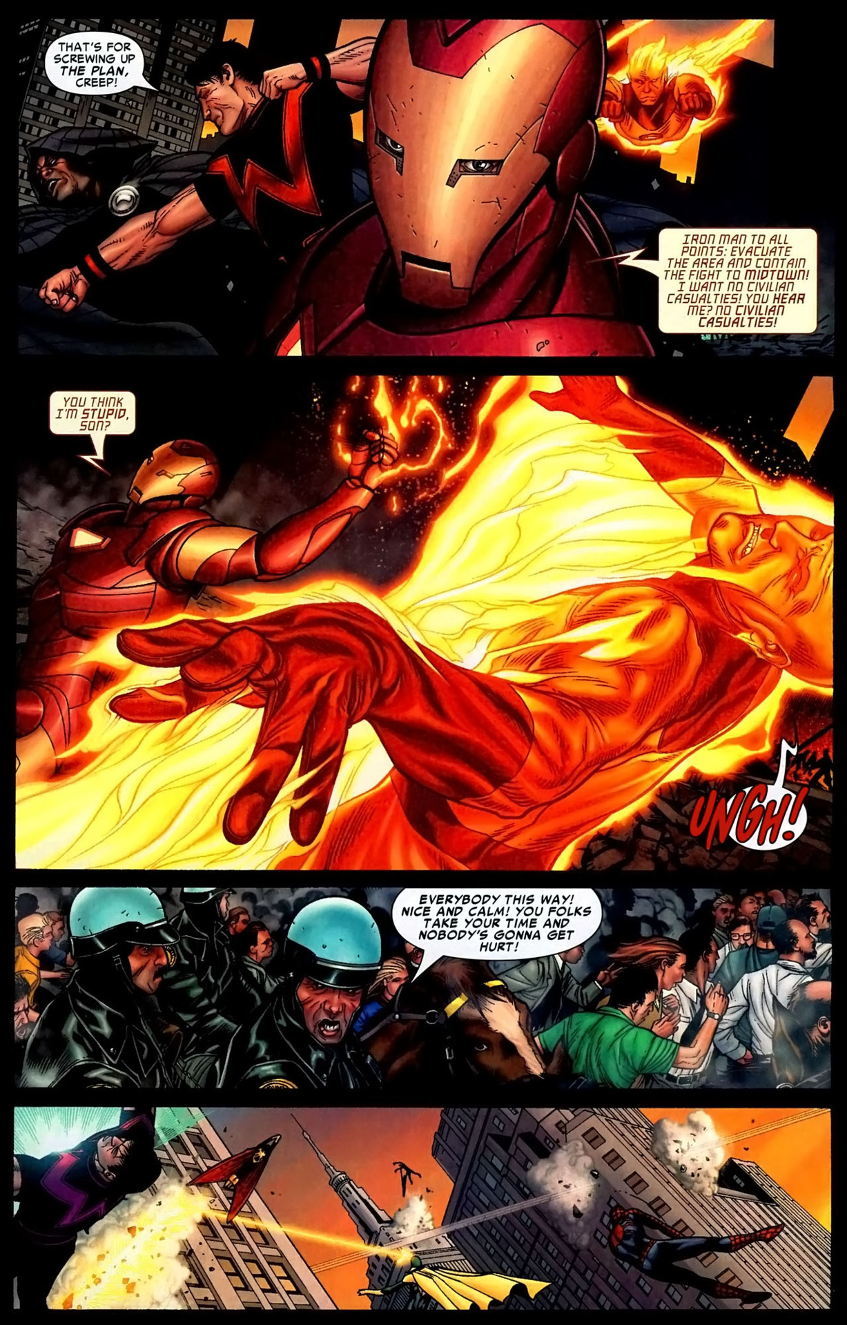 Casually reacts to an attempted sneak attack from Human Torch