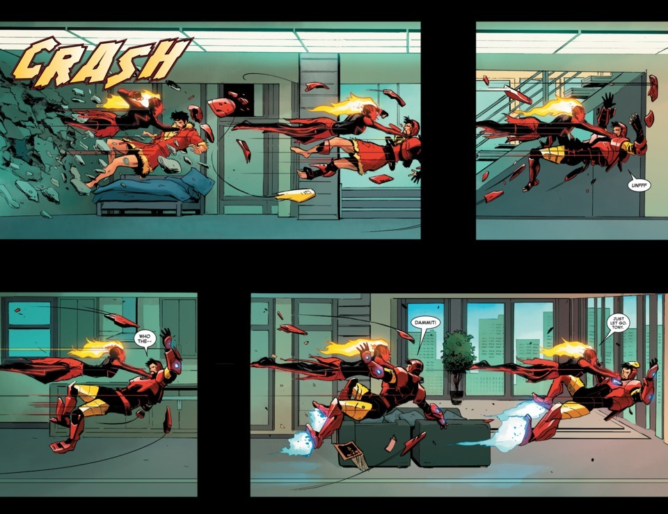Suits himself up to fight Captain Marvel during her unexpected bullrush