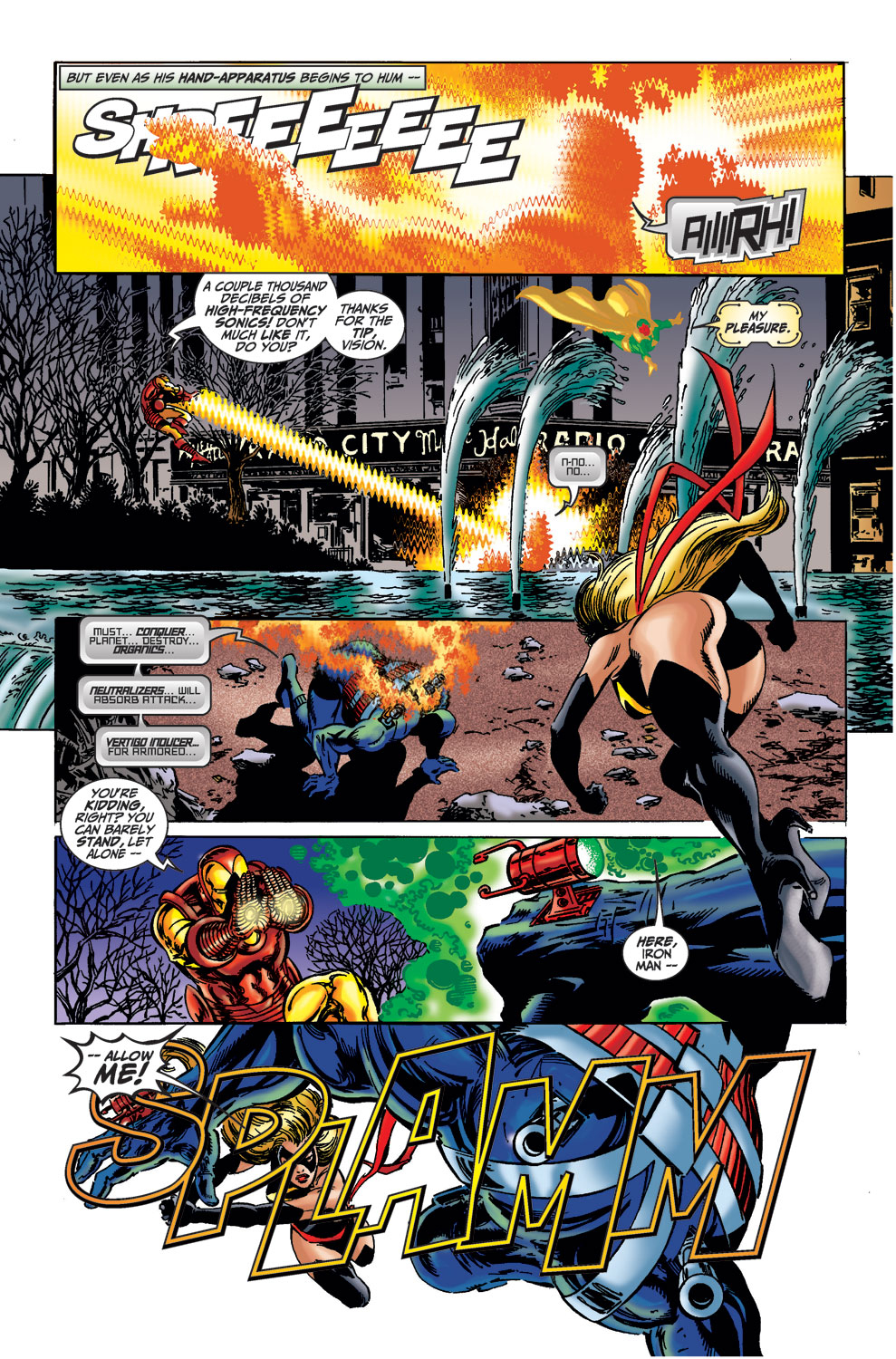 With no strain Iron Man releases high-frequency sonics equal to at least 2,000 fricken DECIBELS. This feat is legit slept on(I'm just gonna say IRL this would've been a lot more catastrophic) -Avengers(1998)