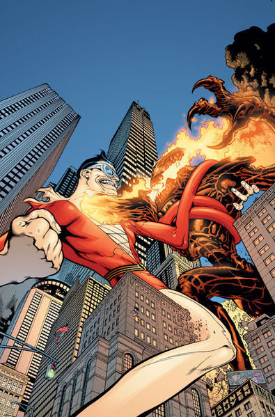 Plastic Man duking it out with the Burning Martian Manhunter