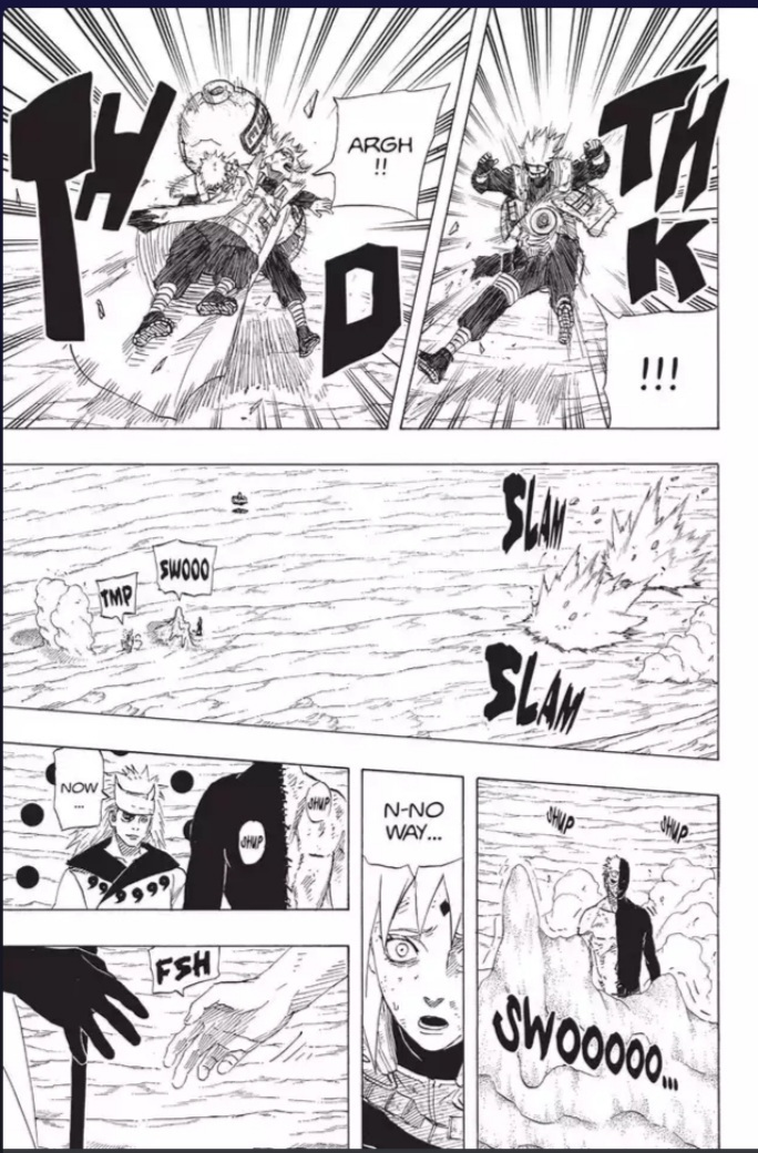 This is what happens when the 4th Hokage used Teleportation on a completely offguard Madara , he got kicked away like trash .