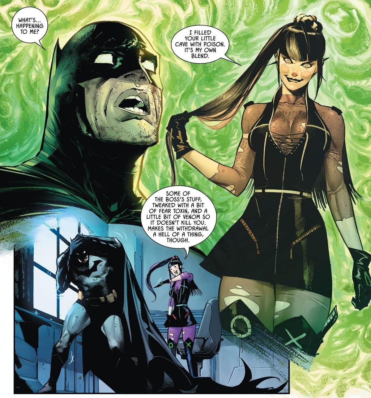 Punchline infecting Batman with her variant of Joker Venom