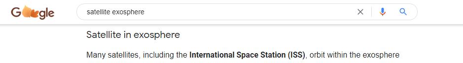 satellites = exosphere