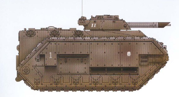 Chimera (amphibious troop transport with interchangeable turret and hull-mounted weapons as well as the capability of allowing its passengers to fire while moving) (transport capacity of twelve)