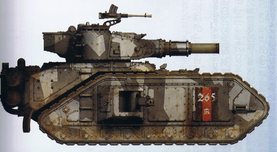 Macharius (super-heavy tank designed as the go-between for a Leman Russ and a Baneblade) (features a twin-linked battle cannon as well as interchangeable sponson guns)