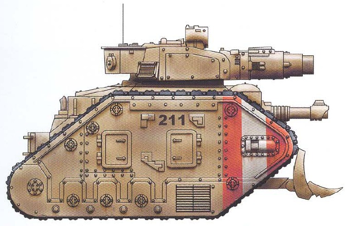 Leman Russ Conqueror (features a smaller battle cannon than the standard Leman Russ, allowing it to fire while moving as well as an interchangeable hull-mounted gun and optional sponson-mounted guns)