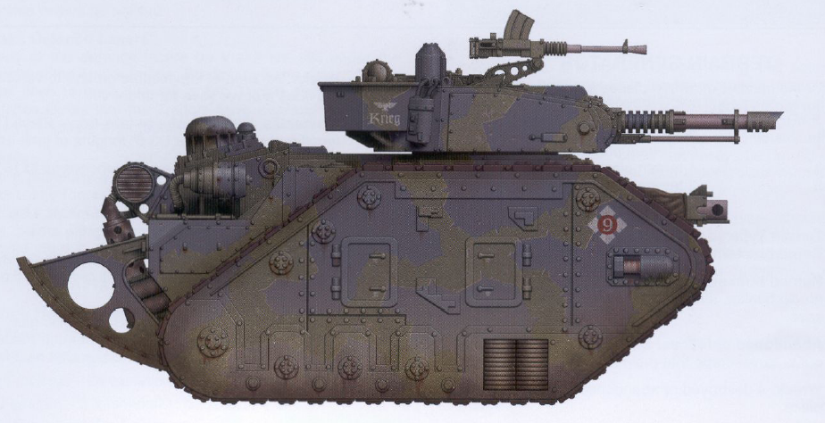 Leman Russ Annihilator (trench rails included) (features a twin-linked lascannon mounted on the turret as well as an interchangeable hull-mounted gun and optional sponson-mounted guns)