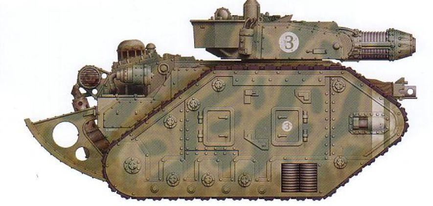Leman Russ Executioner (trench rails included) (features a turret-mounted Plasma Destroyer cannon as well as an interchangeable hull-mounted gun and optional sponson-mounted guns)