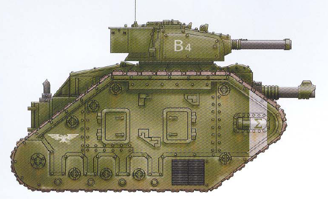 Leman Russ Exterminator (features a twin-linked turret-mounted autocannon as well as an interchangeable hull-mounted gun and optional sponson-mounted guns)