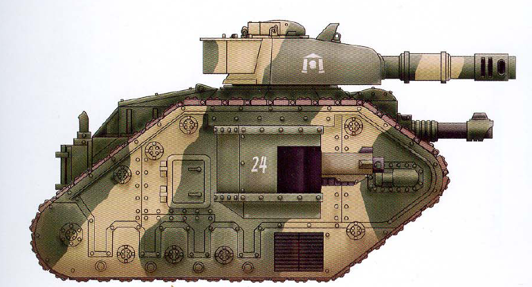 Basic Leman Russ (features the reliable battle cannon as well as an interchangeable hull-mounted gun and optional sponson-mounted guns)