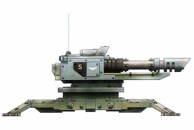 Tarantula Defense Turret (twin-linked, interchangeable weapon loadout, often used for sentry duties)
