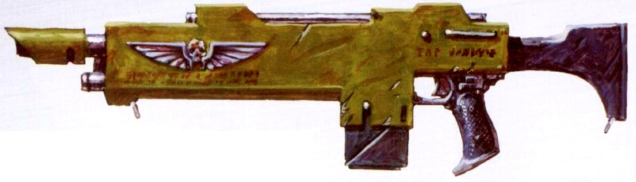 Lasgun (most common weapon in the Imperium, used to arm the masses of Guardsmen) (variants include the laspistol, Hellgun, and multilaser)