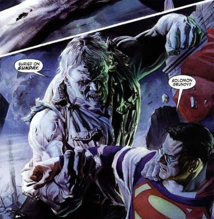 A Brainiac influenced Solomon Grundy from Alex Ross' Justice series, here seen attacking a disguised Superman/Clark Kent