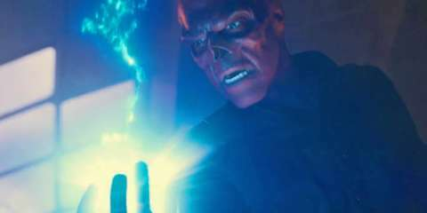 Red Skull holding the Tesseract