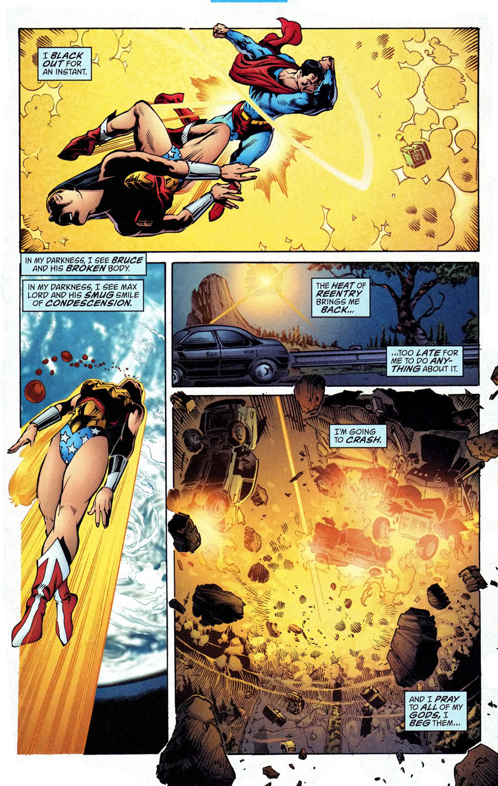 Punches Wonder Woman from the sun to the earth with a single strike despite being exposed to kryptonite