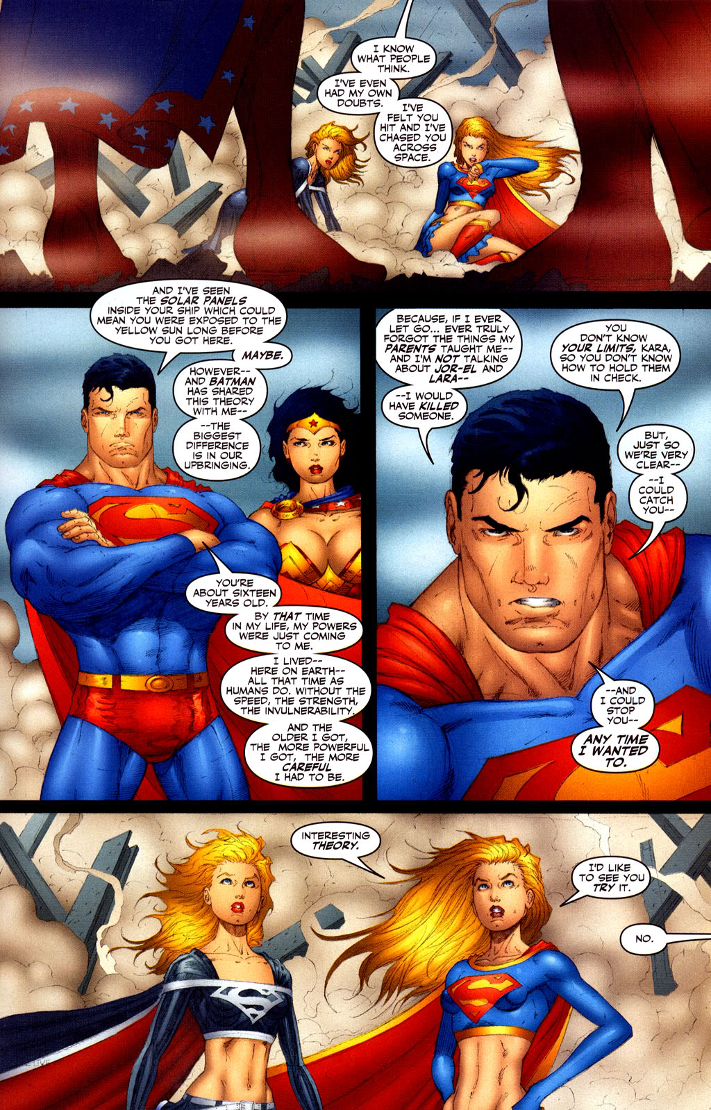 Superman saying that he is more powerful than Supergirl and stating that the older he gets the more powerful he becomes.