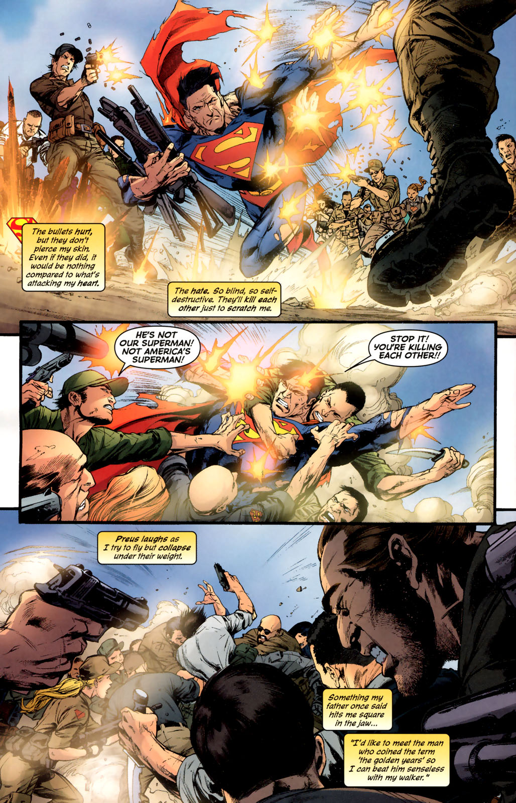 Catches and deflectes bullets whilst weakened by liquid kryptonite which also caused him to age