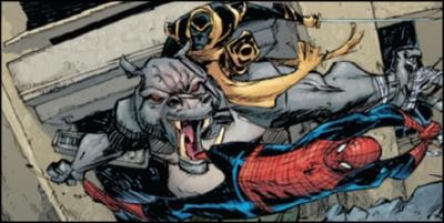 Hippo battling Ronin and Spiderman