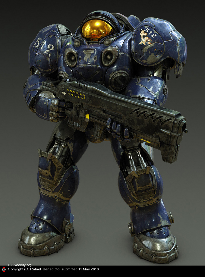 Marine: basic infantry unit. Equipped with life sustaining power armor and a C-14 Gauss rifle.