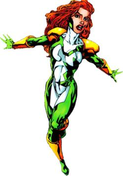 Vindicator in her new costume in the new team