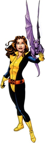 Kitty Pryde with Lockheed.