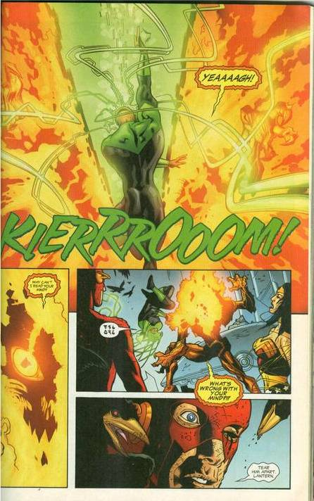 Blasts Fernus' head off(Same Fernus that soloed the JLA) and later bisects him.