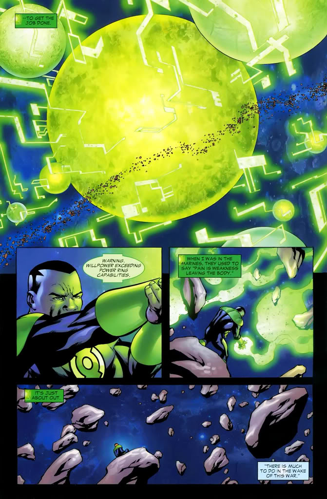 Recreates a whole star system and exceeds his ring's capabilities