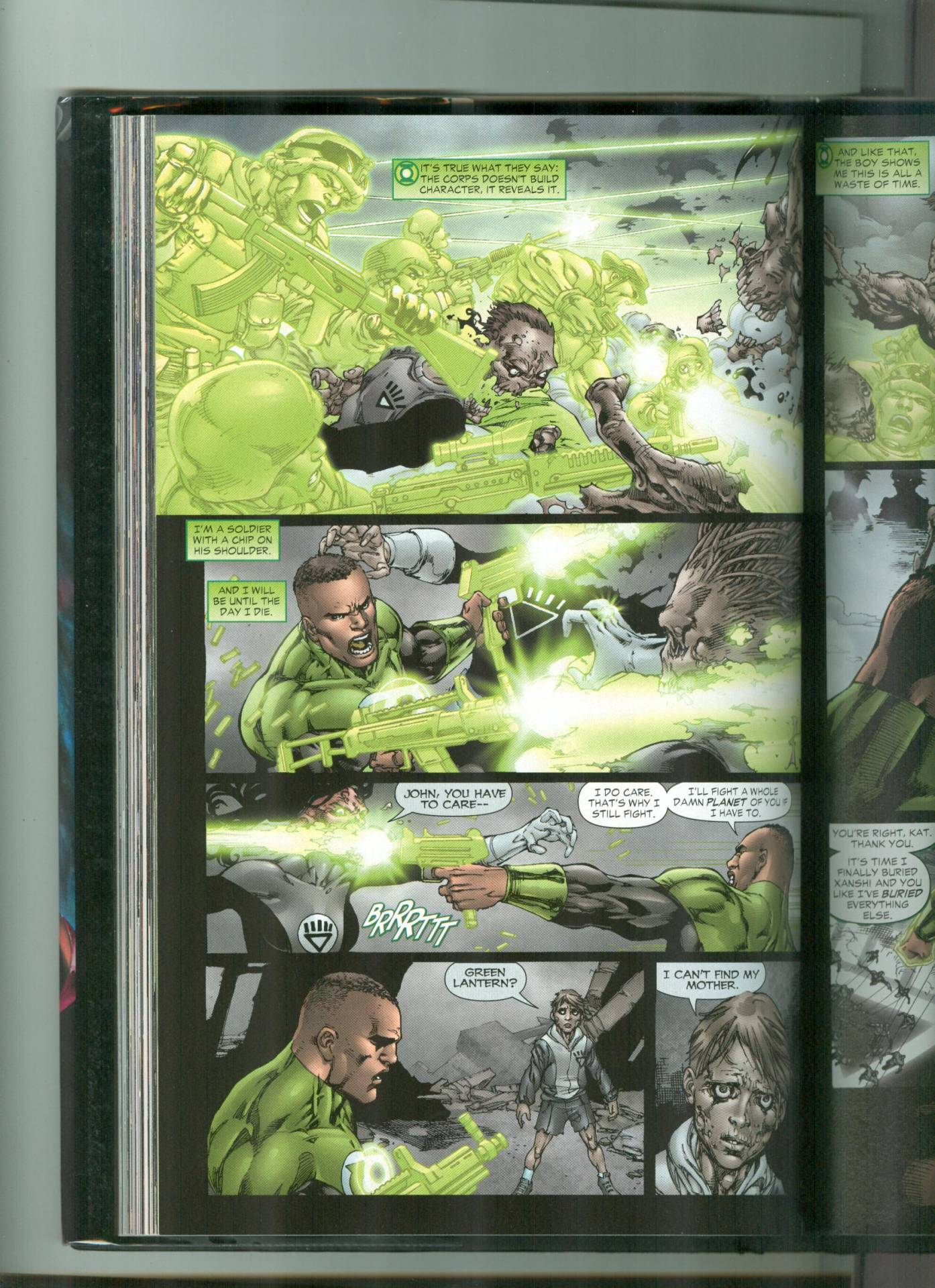 Creates a platoon of soldiers to fight off a planet full of Black Lanterns.