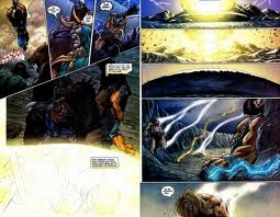 4 Mjolnir level weapons clash together and Thor is the only one still conscious
