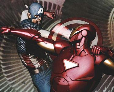 Iron Man and Cap during Civil War
