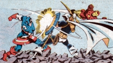 Taskmaster holding his own against Iron Man and Captain America.