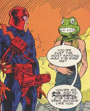 Doom Patrol #70 is Significant for Introducing Coagula (Right) But Perhaps Better Remembered for Its Other Debut, Codpiece (Left)