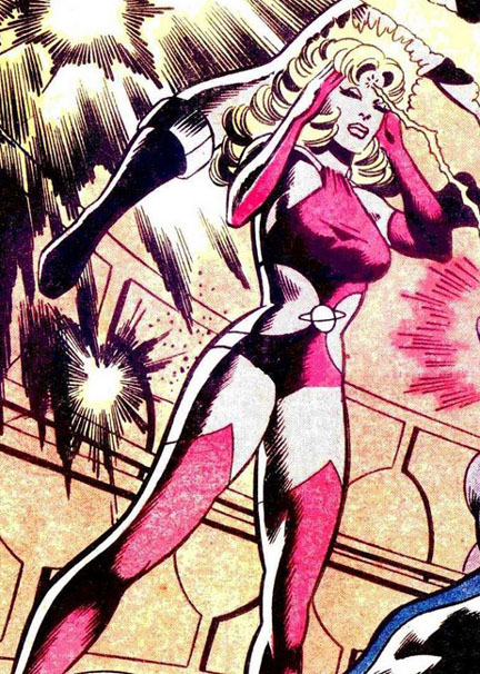 Saturn Girl projecting mind bolts
