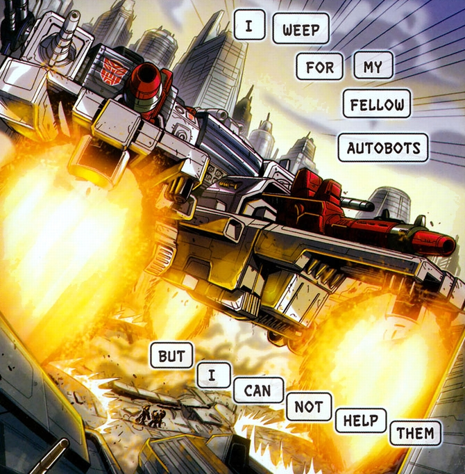 Metroplex flees from the planet after being discovered.